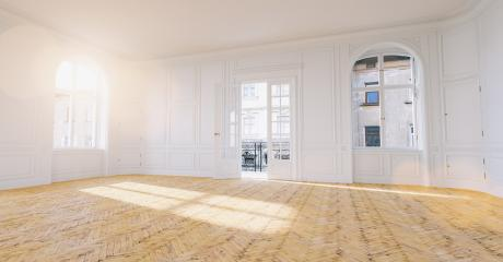 Large empty old building Room with stucco, parquet and balcony as a concept for real estate purchase and renovation- Stock Photo or Stock Video of rcfotostock | RC-Photo-Stock