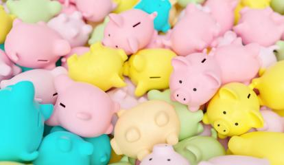 Large group of piggy banks in pastel colors- Stock Photo or Stock Video of rcfotostock | RC-Photo-Stock