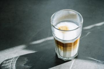 latte macchiato coffee in a glass in a restaurant- Stock Photo or Stock Video of rcfotostock | RC-Photo-Stock