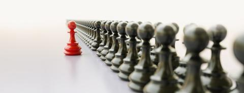 Leadership concept, red pawn of chess, standing out from the crowd of blacks- Stock Photo or Stock Video of rcfotostock | RC-Photo-Stock