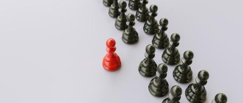 Leadership concept, red pawn of chess, standing out from the crowd of blacks, banner size- Stock Photo or Stock Video of rcfotostock | RC-Photo-Stock