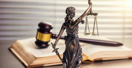 Legal office of lawyers legal bronze model statue of themis goddess of justice with gavel - Stock Photo or Stock Video of rcfotostock | RC-Photo-Stock