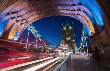 Light trails along Tower Bridge in London- Stock Photo or Stock Video of rcfotostock | RC-Photo-Stock