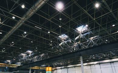Lights and ventilation system in a industrial building, exhibition Hall Ceiling construction- Stock Photo or Stock Video of rcfotostock | RC-Photo-Stock