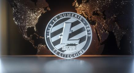 litecoin with worldmap- Stock Photo or Stock Video of rcfotostock | RC-Photo-Stock