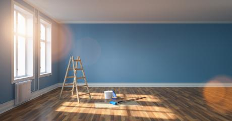 living room in renovation with ladder and paint bucket. Empty blue wall, banner size, with copyspace for your individual text. : Stock Photo or Stock Video Download rcfotostock photos, images and assets rcfotostock | RC-Photo-Stock.: