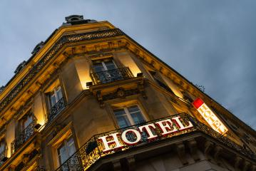 lluminated hotel sign taken in Paris at night- Stock Photo or Stock Video of rcfotostock | RC-Photo-Stock