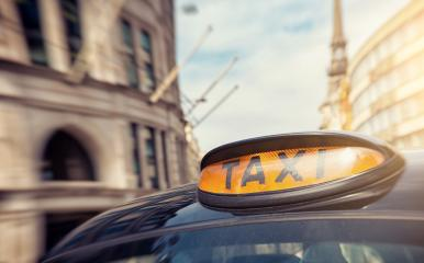 London black taxi cab sign on the street, UK- Stock Photo or Stock Video of rcfotostock | RC-Photo-Stock