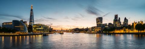 London Cityscape panorama at sunset, seen from Tower Bridge- Stock Photo or Stock Video of rcfotostock | RC-Photo-Stock