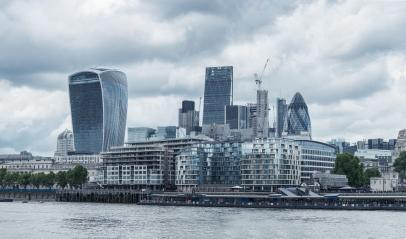 London dramatic sky. View on business modern district- Stock Photo or Stock Video of rcfotostock | RC-Photo-Stock
