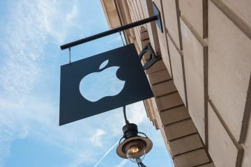 LONDON, UNITED KINGDOM MAY, 2017: Apple logo on a Apple store. Apple is the multinational technology company headquartered in Cupertino, California and sells consumer electronics products.- Stock Photo or Stock Video of rcfotostock | RC-Photo-Stock