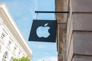 LONDON, UNITED KINGDOM MAY, 2017: Apple logo on a Apple store in London. Apple is the multinational technology company headquartered in Cupertino, California and sells consumer electronics products.- Stock Photo or Stock Video of rcfotostock | RC-Photo-Stock
