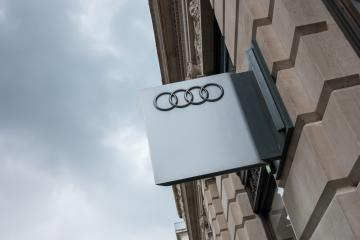LONDON, UNITED KINGDOM MAY, 2017: Audi emblem store logo. Audi is a German automobile manufacturer that designs, engineers, produces, markets and distributes luxury automobiles- Stock Photo or Stock Video of rcfotostock   RC-Photo-Stock