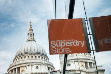 LONDON, UNITED KINGDOM MAY, 2017: Logo of a Superdry Store. Superdry clothing design and manufacturing company, founded in London.- Stock Photo or Stock Video of rcfotostock   RC-Photo-Stock