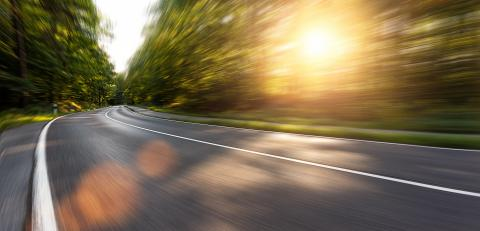 Long Curvy Forest Road In Alpine Mountains with motion blur, Backplate or Backdrop background.- Stock Photo or Stock Video of rcfotostock | RC-Photo-Stock
