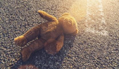 Lost teddy bear lying alone on the road : Stock Photo or Stock Video Download rcfotostock photos, images and assets rcfotostock | RC-Photo-Stock.: