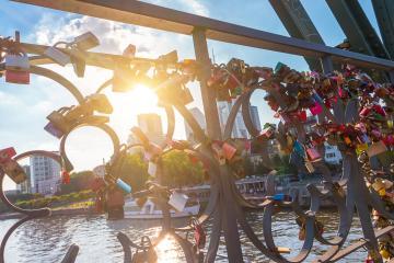 Love locks at the iron bridge in Frankfurt, germany- Stock Photo or Stock Video of rcfotostock | RC-Photo-Stock
