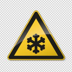 low temperature, snow ahead warning attention sign. Safety signs, warning Sign or Danger symbol BGV warning sign for snow on transparent background. Vector illustration. Eps 10 vector file.- Stock Photo or Stock Video of rcfotostock | RC-Photo-Stock
