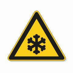 low temperature, snow ahead warning attention sign. Safety signs, warning Sign or Danger symbol BGV warning sign for snow on white background. Vector illustration. Eps 10 vector file.- Stock Photo or Stock Video of rcfotostock | RC-Photo-Stock