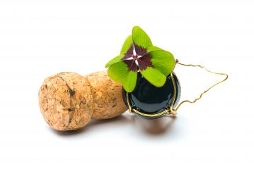 Lucky Clover on champagne corks : Stock Photo or Stock Video Download rcfotostock photos, images and assets rcfotostock | RC-Photo-Stock.: