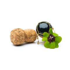Lucky Clover with champagne corks- Stock Photo or Stock Video of rcfotostock | RC-Photo-Stock