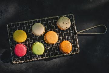 Macarons, or macaroons on a old Cooling Rack, directly above shot- Stock Photo or Stock Video of rcfotostock | RC-Photo-Stock