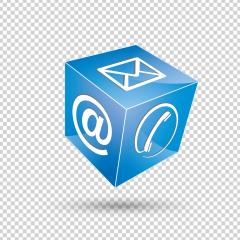 mail icon, phone at sign cube in blue color on the checked transparent background. Vector illustration. Eps 10 vector file. : Stock Photo or Stock Video Download rcfotostock photos, images and assets rcfotostock | RC-Photo-Stock.: