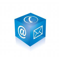 mail icon, phone at sign cube in blue color on white background. Vector illustration. Eps 10 vector file. : Stock Photo or Stock Video Download rcfotostock photos, images and assets rcfotostock | RC-Photo-Stock.: