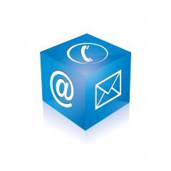 Mail-Symbol, Telefon Zeichen würfel in blauer Farbe. Vektorillustration. Eps 10 Vektordatei- Stock Photo or Stock Video of rcfotostock | RC-Photo-Stock
