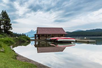 Maligne Lake and historic boathouse in Jasper National Park, Alberta, Canada. : Stock Photo or Stock Video Download rcfotostock photos, images and assets rcfotostock | RC-Photo-Stock.: