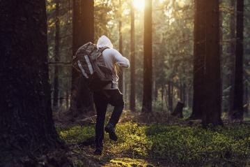 Man hiking in the woods and the sun shines through the forest : Stock Photo or Stock Video Download rcfotostock photos, images and assets rcfotostock | RC-Photo-Stock.: