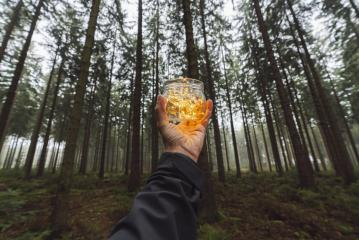 man hold Transparent jar with lights from led in a misty forest. Give a Gift. Romantic Hipster Concept. : Stock Photo or Stock Video Download rcfotostock photos, images and assets rcfotostock | RC-Photo-Stock.: