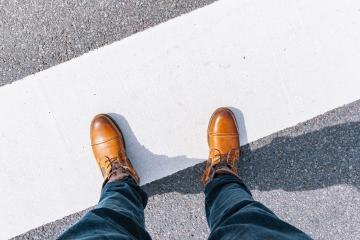 Man standing on grunge asphalt city street with white line and copy space, point of view perspective- Stock Photo or Stock Video of rcfotostock | RC-Photo-Stock