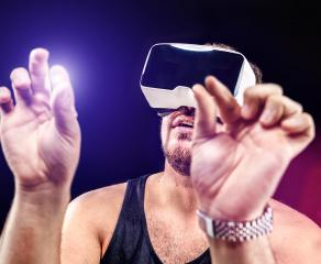 Man uses Virtual Realitiy VR head-mounted display : Stock Photo or Stock Video Download rcfotostock photos, images and assets rcfotostock | RC-Photo-Stock.: