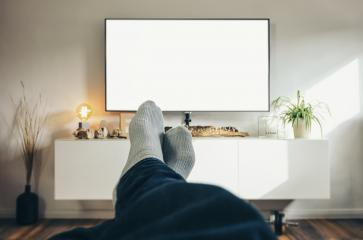 Man Watching TV in his living room, point of view perspective.- Stock Photo or Stock Video of rcfotostock | RC-Photo-Stock