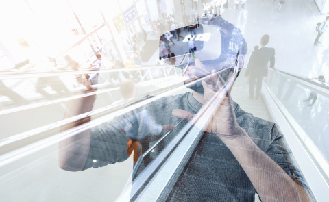 man wearing virtual reality headset on a games trade fair- Stock Photo or Stock Video of rcfotostock | RC-Photo-Stock