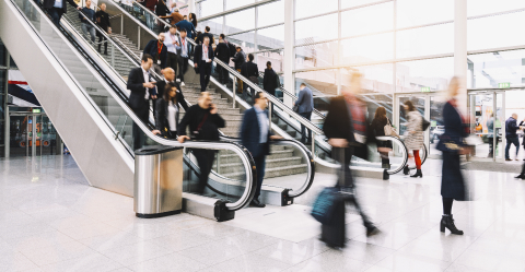 Many anonymous blurred people on escalator at trade fair or congress- Stock Photo or Stock Video of rcfotostock | RC-Photo-Stock