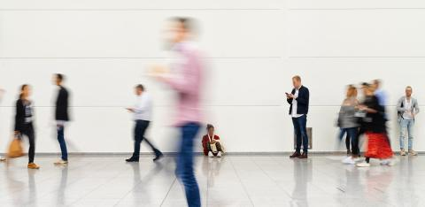 Many anonymous blurry people go in the airport or at a trade fair- Stock Photo or Stock Video of rcfotostock | RC-Photo-Stock