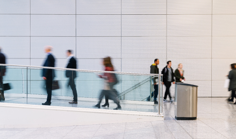 Many anonymous business people go aisle in the office- Stock Photo or Stock Video of rcfotostock | RC-Photo-Stock