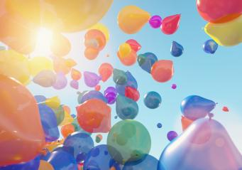 many Balloons Flying to the blue sky with sunlight - 3D Rendering : Stock Photo or Stock Video Download rcfotostock photos, images and assets rcfotostock | RC-Photo-Stock.: