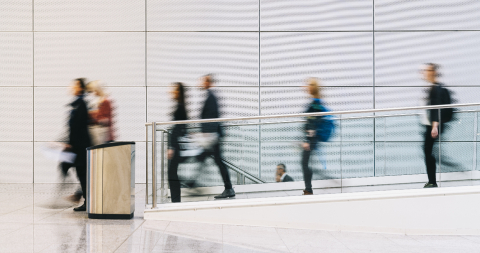 Many blurry anonymous business people go by airport or conference- Stock Photo or Stock Video of rcfotostock | RC-Photo-Stock