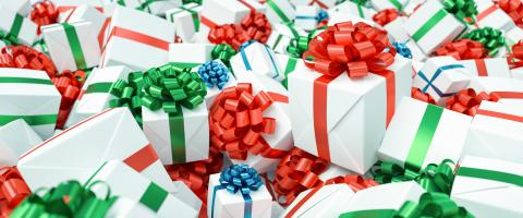 Many colorful and white gifts for Christmas on a big pile : Stock Photo or Stock Video Download rcfotostock photos, images and assets rcfotostock | RC-Photo-Stock.: