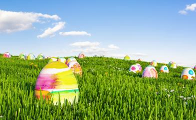 Many colorful easter eggs hunt on a green meadow - Stock Photo or Stock Video of rcfotostock | RC-Photo-Stock