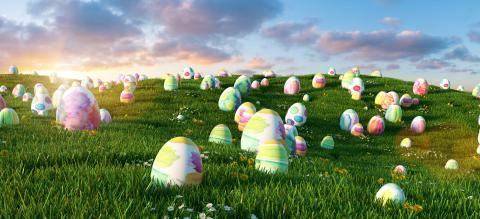 Many colorful easter eggs in the grass of a meadow for easter- Stock Photo or Stock Video of rcfotostock | RC-Photo-Stock