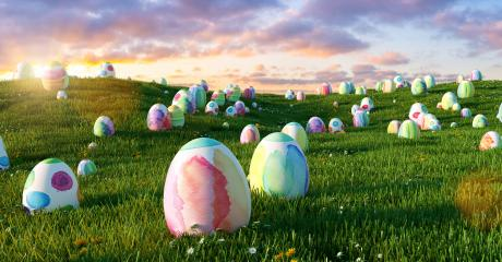 Many colorful easter eggs in the grass of a meadow for easter at sunset- Stock Photo or Stock Video of rcfotostock | RC-Photo-Stock