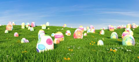 Many colorful watercolor Easter eggs a meadow for Easter Hunt, copy space for individual text- Stock Photo or Stock Video of rcfotostock | RC-Photo-Stock