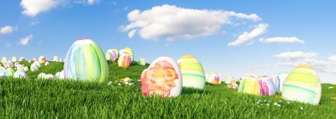 Many colorful watercolor Easter eggs to be searched and hunted on a meadow for Easter- Stock Photo or Stock Video of rcfotostock | RC-Photo-Stock