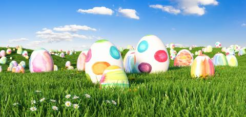 Many colorful watercolor Easter eggs to be searched on a meadow for Easter- Stock Photo or Stock Video of rcfotostock | RC-Photo-Stock