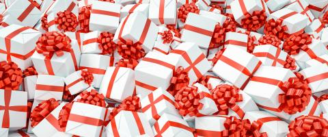 Many different red and white Christmas gifts for Christmas on a pile : Stock Photo or Stock Video Download rcfotostock photos, images and assets rcfotostock | RC-Photo-Stock.: