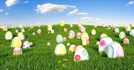 Many easter easter eggs on meadow- Stock Photo or Stock Video of rcfotostock | RC-Photo-Stock